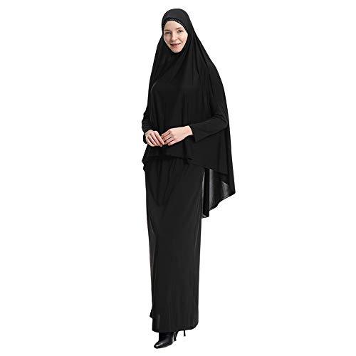 Yudesun Muslimische Kleider Islamische Kleidung - Damen Ganzkörperansicht Länge Hijab Robe Anzug Abaya Schal Gebet Kaftan Bademäntel Kleid,Schwarz,XL