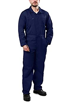 Kolossus Deluxe Long Sleeve Cotton Blend Coverall with Multi Pockets and Antistatic Zipper Navy Blue
