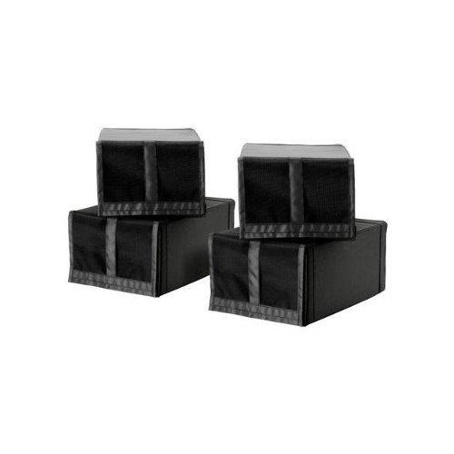 2 XIKEA 4-er Set Schuhboxen 'Skubb' vier Schuhkisten Regaleinsätze - schwarz