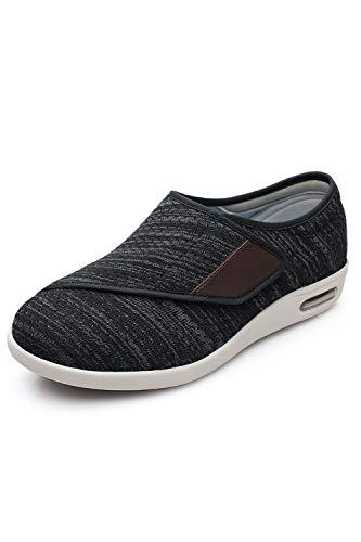 DENACARE Women's Wide Width Shoes with Adjustable Closure Lightweight for Diabetic Edema Plantar Fasciitis Bunions Arthritis Swollen Feet-SW4 Black