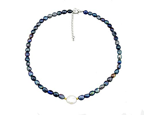 Collar de Perlas Naturales de Agua Dulce Madre Perla Cada Mujer Madre o Abuela.Moda 2020.Perlas Color Azul