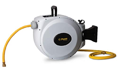 Power Retractable Hose Reel 50 ft  6 ft x 5/8quot  Brass Fittings Super Heavy Duty Slow Return System 350 PSI Burst Strength 3 Layer Hybrid Hose  Wall Mounted Water Hose Reel Standard