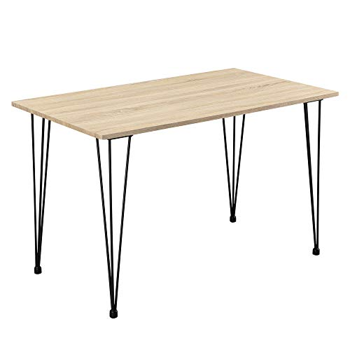 [en.casa] Design Esstisch \'Hairpin\' in Eichen-Optik 120x70cm - Küchentisch Esszimmertisch Tisch mit Hairpin-Legs