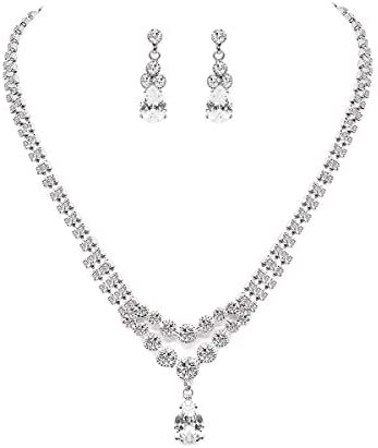 UDORA Crystal Teardrop Necklace Earrings Jewelry Set Party Prom Wedding Silver product image