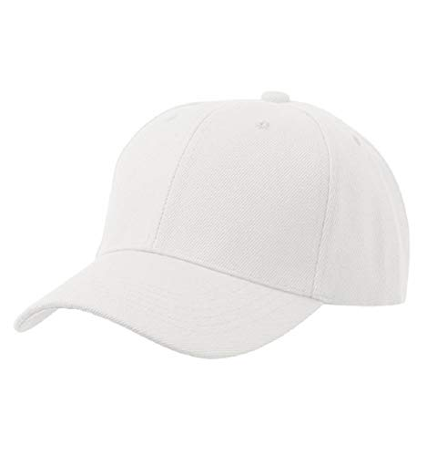 Tuopuda® Baseball Cap Unisex Damen Herren 6 Panel Snapback Kappe Hip Pop Sport Golfschläger Kappen (Weiß)