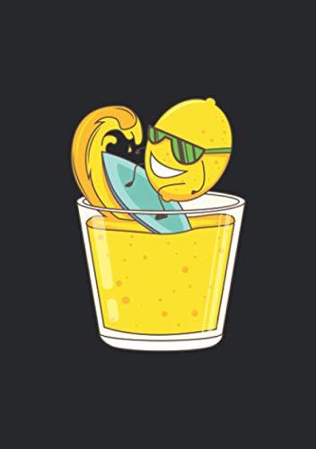 Notizbuch A5 liniert mit Softcover Design: Surfende Zitrone in Zitronen Limonade Eistee Spaß Witz: 120 linierte DIN A5 Seiten