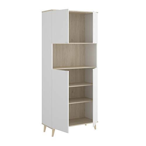 HABITMOBEL Mueble Zapatero Auxiliar Gran Capacidad Gracias a un Hueco y Dos Compartimentos Cerrados con estantes.