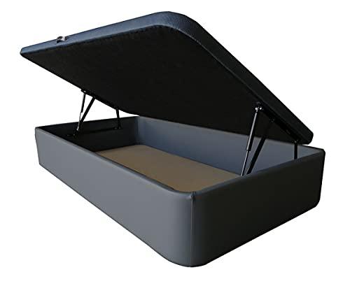 Canapé Tapizado en Polipiel. Acabado en Esquinas Redondas - Cabeceroscamas.com (Gris Antracita, 90x190)