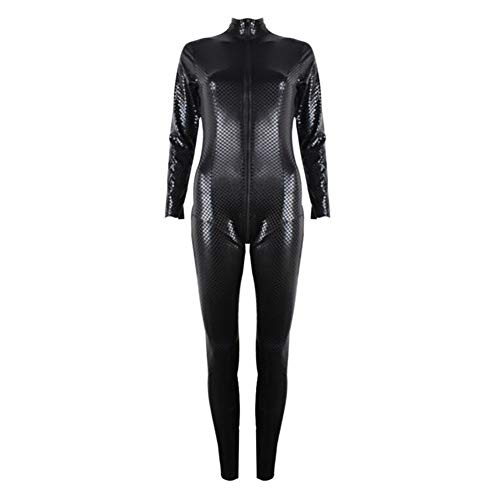 SHANGXIAN Women's Latex Catsuit Faux Leather Sexy Bodycon Lingerie Holiday Party Snakeskin Pattern Costumes Bodysuit,Black,M