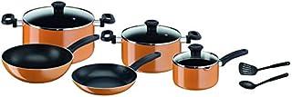 Tefal B168A474 10 Pieces Prima Cooking Set, Orange/Black, W 45.2 x H 37.4 x D 29.4 cm, Aluminum