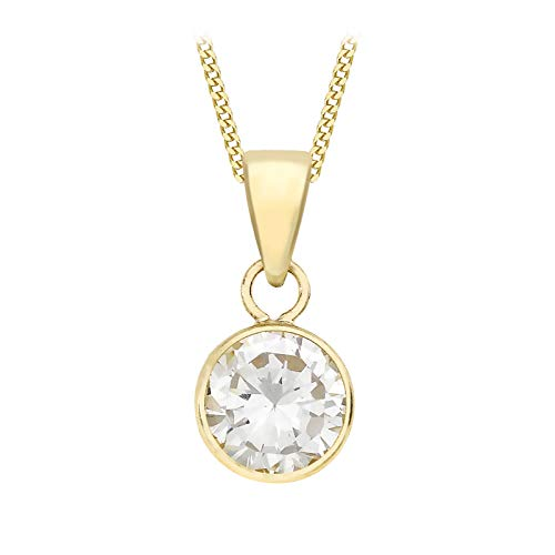 Carissima Gold Women's 9 ct Yellow Gold 7 mm Round Cubic Zirconia Pendant on 9 ct Yellow Gold 0.7 mm Diamond Cut Adjustable Curb Chain Necklace of Length 46 cm/18 Inch