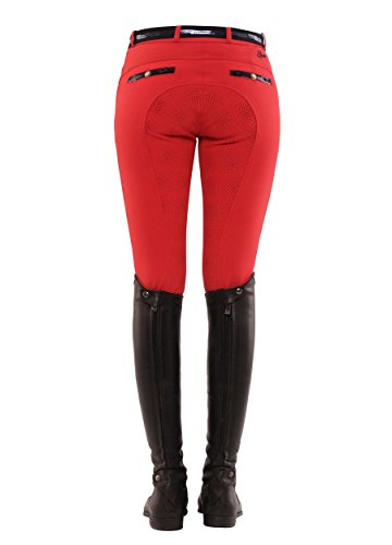 SPOOKS Reithose für Damen Mädchen Kinder, Voll-Grip-Besatz Reithosen Leggings Turnierreithose - Ricarda Full Grip Sequin - Rot L