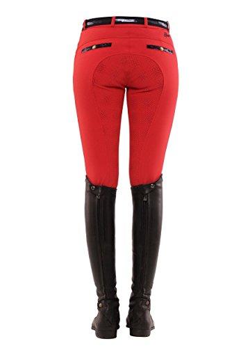 SPOOKS Reithose für Damen Mädchen Kinder, Voll-Grip-Besatz Reithosen Leggings Turnierreithose - Ricarda Full Grip Sequin - Rot XS
