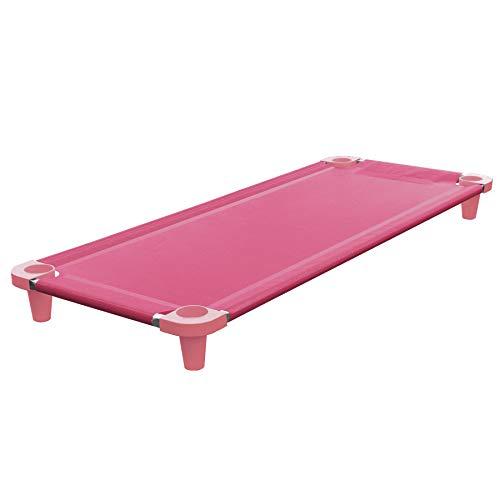 Acrimet Premium Stackable Nap Cot (Stainless Steel Tubes) (Pink Cot - Pink Feet) (1 Unit)