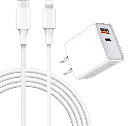 iPhone 12 Charger【Apple MFi Certified】 18W Dual-Port Wall Charger Plug with 3FT Cable, PD 3.0 Fast Wall Charger, Type USB C Charger for iPhone 12/ Mini/Pro Max/11/11 Pro Max/Galaxy/Pixel
