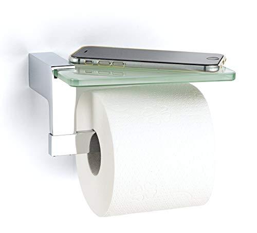 jocalvi Toilettenpapierhalter mit Ablage aus Edelstahl - Verchromt - Edles Design - Klopapierhalter mit Glasablage für Smartphone, Deko und Feuchttücher - Zur Wandmontage