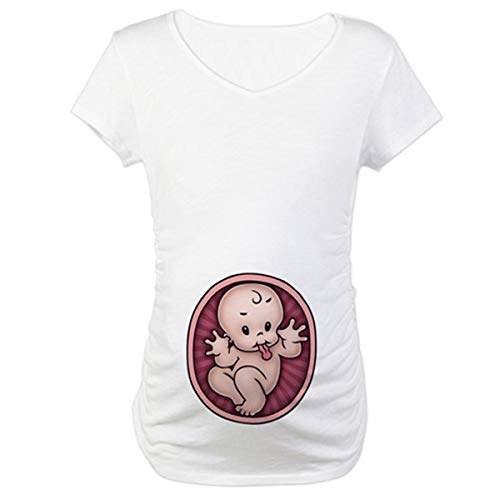 Q.KIM Maternity - Camisetas de maternidad para mujer, bonito diseño divertido con texto, impresión, de manga corta Bebé, blanco. S