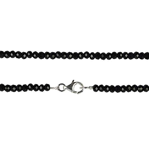 Chili Jewels - Cadena con botones facetados, color negro, 4 mm/45 cm