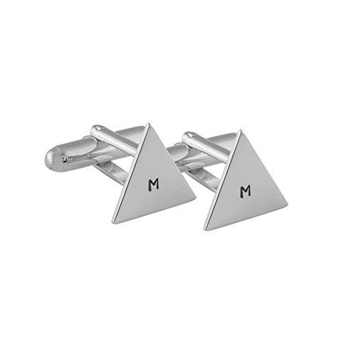 Gemelos para camisas personalizados triángulo de plata esterlina hech
