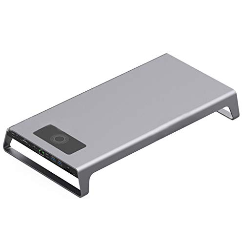 Suppyfly Aluminium Monitor Stand Docking Station met USB C Hub Ondersteuning 4K HDMI VGA TF kaart Wireless Charge