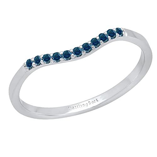 Dazzlingrock Collection Banda de contorno apilable para mujer, de plata de ley 925, Diamante azul Plata-esterlina, Diamond,