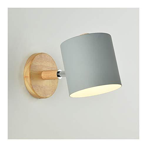 LED Sconce wandlamp modern eenvoudig, ijzeren kunst hout wandlamp E27*1 zwart wit, woonkamer Decor slaapkamer nachtkastje Studie lezen nachtlampje [Energie Klasse A++]