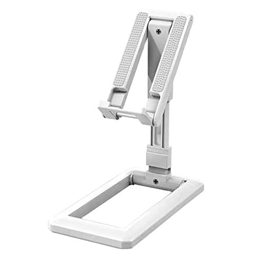 QKFON Soporte plegable para teléfono móvil para escritorio sin clip para tableta telescópica, altura y ángulo ajustable, adecuado para escritorio o tableta de teléfono móvil de 14 x 7 cm