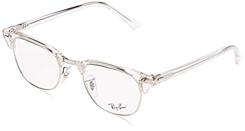 Ray-Ban RX5154 Clubmaster Square Prescription Eyeglass Frames, White Transparent/Demo Lens, 49 mm