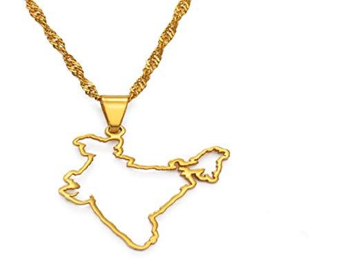 WH MaiYY Collar con Colgante De Mapa De La India con Diseño De Contorno, Plata / Oro, Joyería Étnica India # 148421