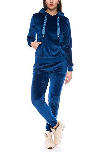 Crazy Age Damen Anzug Freizeit Sport Alltag | Samt Nicki Velvet | Kuschelig Sportlich Elegant | XS - XL (Blau, XS)