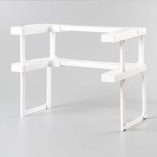 Estante de 2 capas para armario de cocina, organizador de armario, ajustable, estante de almacenamiento para especias, estante para encimera, organizador de almacenamiento