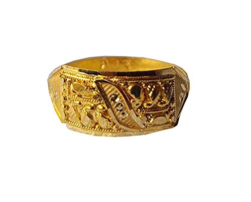 Oro fino amarillo macizo de 18 quilates (18 quilates) Tallado Diseño Señoras Anillo Tamaño -7.75 Joyas preciosas hechas a mano en la India para regalos,aniversario,boda,compromiso