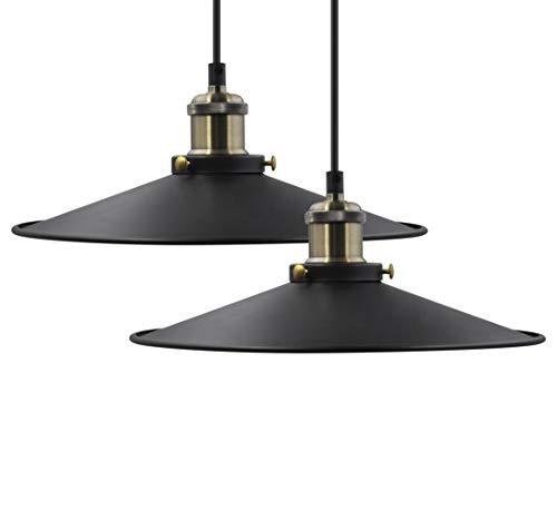 Hängeleuchte Pendelleuchte Esstisch Esszimmer Lampe Metall Schwarz Höhenverstellbar 2er Pack Durchmesser 30CM Hängende Länge Maximal 2 Meter de Enuotek