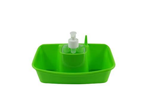 B&F Estropajero Doble con Dispensador de Jabón Incorporado/Organizador De Utensilio De Fregado y Recipiente Doble para Estropajo 13x26x17cm (Verde)