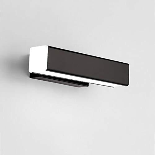Moderno Rotativo Baño Luz De Tocador,contemporáneo Elegante Lámpara De Pared Led Tubo Wall Sconce Luces De Maquillaje 6000k Blanco Frío Negro L:30cm(12inch)
