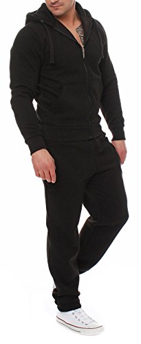 Fabrica 90A45 Herren Jogging Anzug Trainingsanzug Sweatshirt Schwarz Gr. L