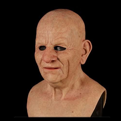 beibeiwang Látex Sonriente Anciano con Cabeza Calva Arrugada Máscara Facial Tocados De Silicona 3D Halloween Cosplay Mascarada Propr