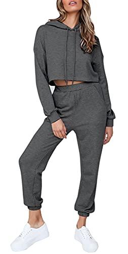 Quenteen Women's 2 Piece Joggers Causal Long Sleeve Crop Top And Elastic Waist Pants With Pockets Dark Grey