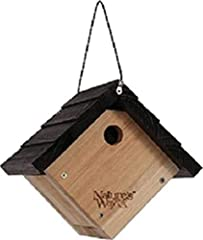 """Made with insect and rot-resistant premium cedar and rust-free stainless steel hardware Air vents allow for maximum air ventilation through wall and floor openings for bird health Clean-out door provides easy access for cleaning 1 1/8"""" hole keeps out..."""