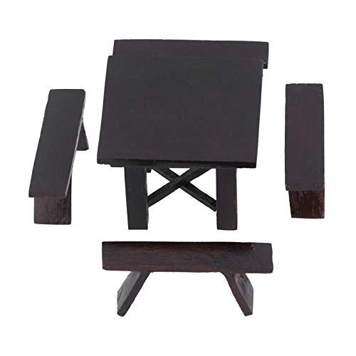 YOUTHINK Juego de sillas de Mesa de casa de muñecas 1:12 Accesorios de casa de muñecas Mesa de Madera Negra Silla Muebles Mesa de té Accesorios de Mesa de Comedor Serie de Muebles de casa de muñecas