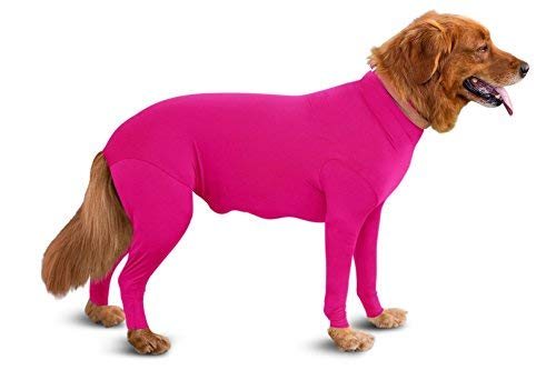 Shed Defender Original Dog Onesie - Seen On Shark Tank, Contains Shedding of Dog Hair for Home, Car, Travel, Anxiety Calming Shirt, Surgery Recovery Body Jumpsuit, E Collar Alternative (Pink, XXXS)