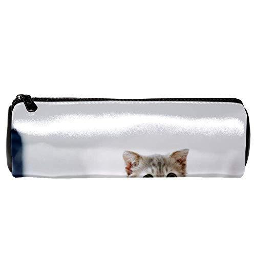 EZIOLY - Estuche de piel con textura de gatito en la cama, estuche para lápices y cosméticos, bolsa de maquillaje para estudiantes, papelería, escuela, oficina, cosméticos, bolsa de maquillaje (7.9 x 2.5 pulgadas)