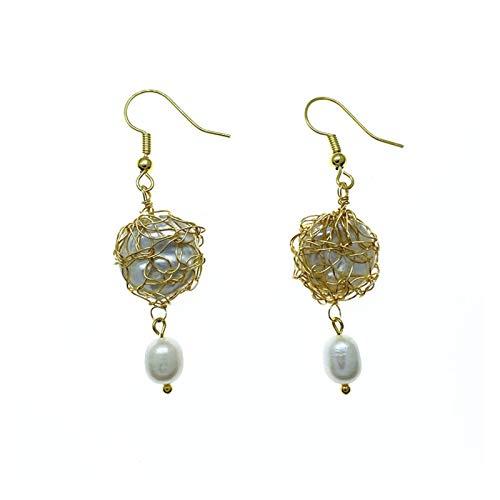 MURUI EH The Semino hecho a mano oro herido barroco natural perlas de agua dulce pendientes palacio vintage gancho de oreja sin oído yc720 (color: A)