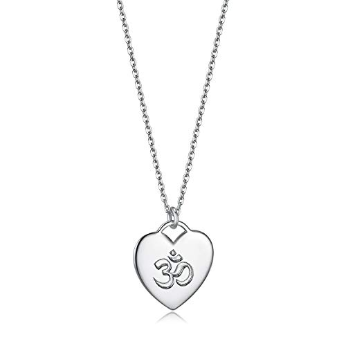 Herzschlag Damen Schmuck Halskette 925 Sterling Silber Einstellbar Herz Anhänger (Yoga Om - Weiss)