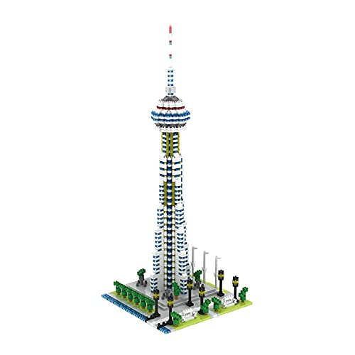 Architecture Toronto CN Tower Building Blocks, 1694 Pieces Nano Micro Blocks Toronto Landmark Modular Street View Series Construction Set, Not Compatible with Lego