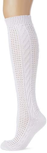 Lusana Damen Kniestrumpf mit traditionellem Muster Trachtenstrümpfe, Weiß (Weiß 26), 40 (Herstellergröße: 40-42)