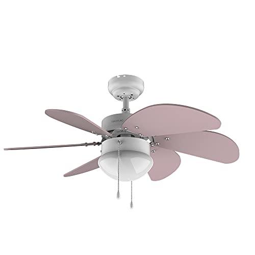 Cecotec Ventilador de techo EnergySilence 3600 Vision Purple. 50 W, Diámetro 92 cm, Lámpara, 3 Velocidades, 6 Aspas reversibles, Función Verano/Invierno, Interruptor de Cadena, Blanco/Lila