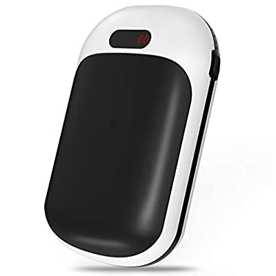 Portable Hand Warmer 10000mAh Rechargeable Electric Pocket Hand Warmers Power Bank Charger Double-Sided 3s Fast Heating 3 Levels Heating Options 5V 2A Max.Type C Input 5V 2.1A Max USB Output (Black)