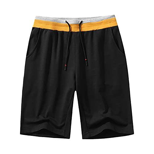 CNBPLS Pantalones cortos de correr para hombre,Bolsillos ligeros para entrenamiento, gimnasio, pantalones de algodón elásticos, negro, XXL