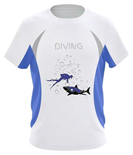 Taucher mit Hai und Wasserblasen, Diving - Taucher - Unterwassersport - Urlaub - Karibik - Herren Laufshirt tailliert geschnitten -XL-Blau-Weiss